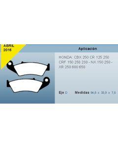 Pastilla De Freno Moto Honda Xr150 250 600 Nx Cbx250 Tornado Cr Crf 0986BB5906