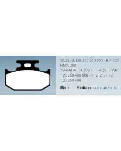 Pastilla De Freno Moto Yamaha Xtz Yz Tt Ttr Wr Suzuki Dr Rm Rmx 0986BB5908