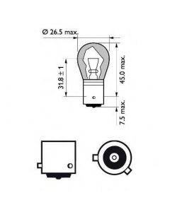 Lampara 1 Filamento 12V 21W Bau 15S Perlada Py21  (X2)  Código: PH-12496SV Marca: PHILIPS Modelo: PATAS DEFASADAS Medidas: - Equivalencias: -