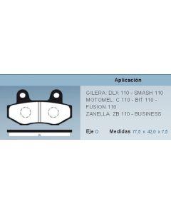Pastilla De Freno Moto Zanella Zb Gilera Smash Beta Motomel Bit 110 0986BB5900