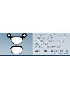 Pastilla De Freno Moto Mondial Hd125 Motomel Guerrero 0986BB5909
