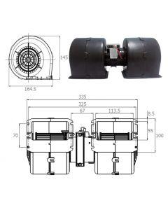 Motor Calefactor Blindado Doble Eje 24V Completo-EM-17593